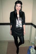 black Dorothy Perkins blazer - black random brand skirt - Zara tights - white ra