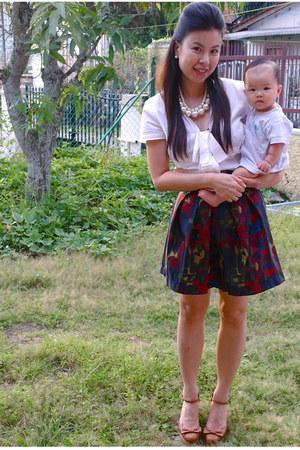 white short sleeve Zara blouse - Forever 21 skirt - tan tan bow Miss Selfridge w