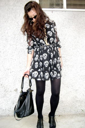 black random from Bangkok dress - black Topshop tights - black Jeffrey Campbell