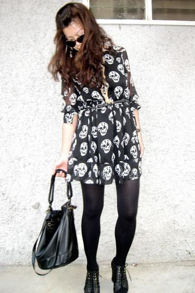 black random from Bangkok dress - black Topshop tights - black Jeffrey Campbell