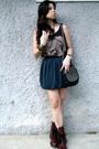 Black-random-from-bangkok-top-green-forever21-skirt-red-doc-martens-shoes-