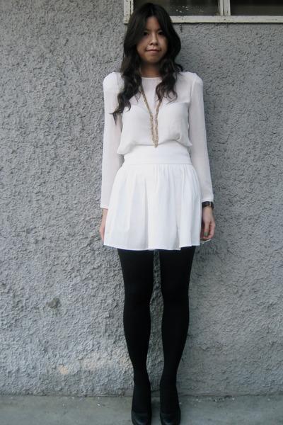 White Bysi Tops White Bysi Skirts Black Topshop Tights Black