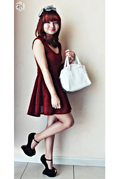 white faux leather Parisian bag - red tutu like Studio dress