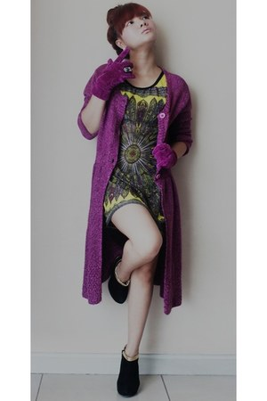 magenta cotton Vertigo Club sweater - black suede Glammouroza Shop boots