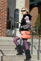 black Minnetonka boots - coral AWCA bag - black Michael Kors sunglasses