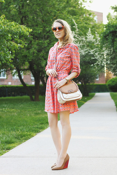 red Gap dress - ivory etienne aigner bag - orange SWG sunglasses