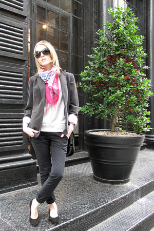 black Matt Bernson shoes - gray calvin klein jacket - magenta Aldo scarf