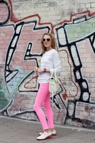 white Cole Haan shoes - pink asos jeans - white madewell sweater