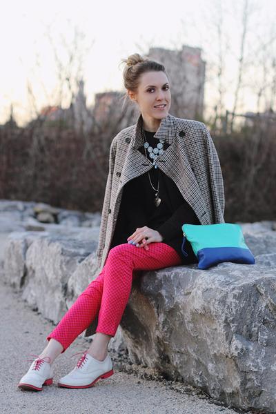 beige Gap coat - turquoise blue Gap bag - navy H&M sweatshirt
