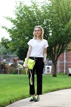 yellow the cambridge satchel company bag - black asos pants - white asos t-shirt