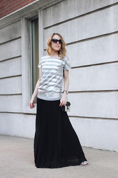 black asos skirt - silver milly bag - black Michael Kors sunglasses
