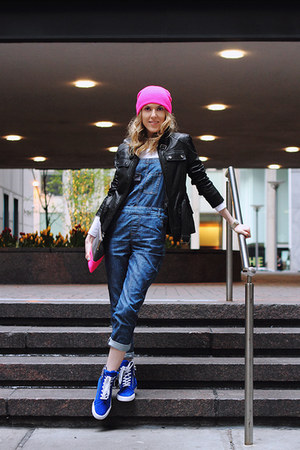 blue asos jumper - hot pink neff hat - black Kenneth Cole jacket