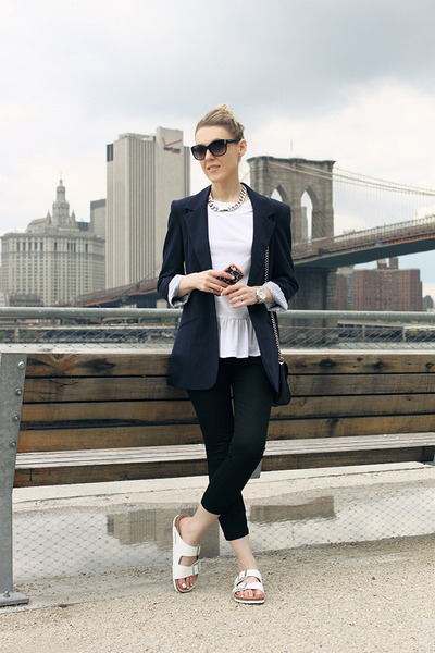 white Birkenstock sandals - navy asos blazer - black Kenneth Cole bag