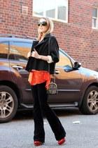 red asos shirt - black H&M jacket - black urban originals bag