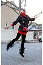 black Minnetonka boots - black Kenneth Cole jacket - red XOXO sweater