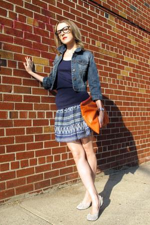 navy Heritage 1981 jacket - orange American Apparel bag - blue Paprika skirt