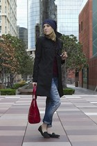 black DKNY coat - blue american eagle outfitters jeans - navy asos hat
