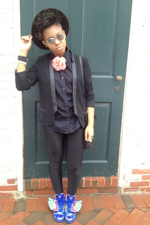 black black American Apparel leggings - black Target blazer - blue sneakers