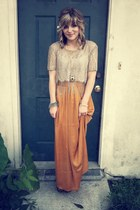 beige thrifted top - brown Charlotte Russe pumps - mustard Forever 21 skirt
