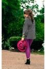 Black-vintage-boots-magenta-prima-donna-hat-magenta-prima-donna-leggings