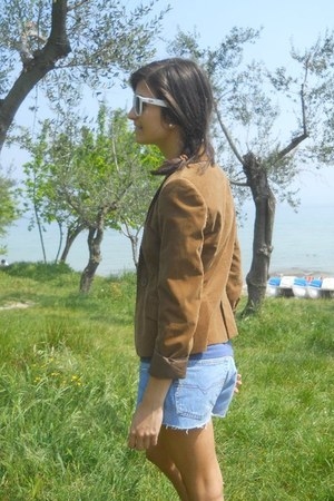 bronze velvet Zara blazer - sky blue denim Diesel shorts - white Ray Ban sunglas