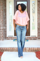wide leg Zara jeans - Belleza Blu top - Nine West wedges