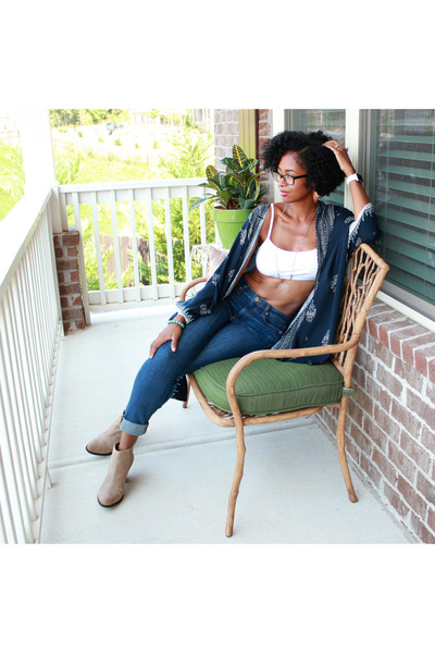 kimono Forever 21 cardigan - Lucky Brand boots - Paige jeans