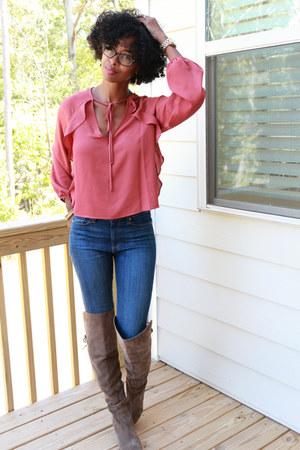 ruffle tie-neck Belleza Blu blouse - sam edelman boots - Paige jeans