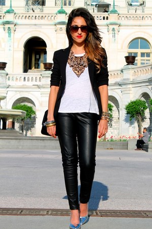 silver Haute Heritage necklace - white H&M t-shirt - black Zara pants