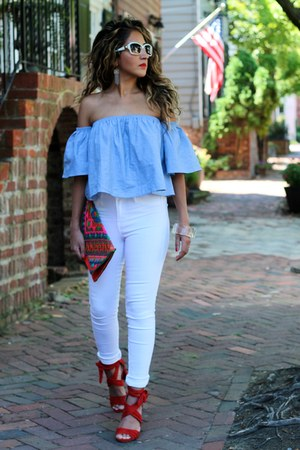 red GoJane heels - sky blue GoJane shirt - white H&M pants