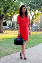 black Zara bag - red BCBG dress - black Zara heels