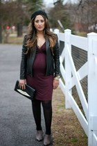 black H&M hat - heather gray Zara boots - magenta Asos Maternity dress