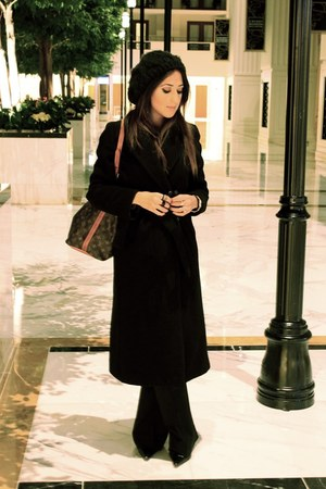 black Sisley coat - black Urban Outfitters hat - black Tahari pants
