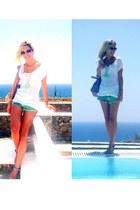white Zara t-shirt - light purple balenciaga bag - Topshop shorts