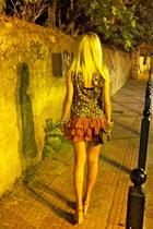 floral f21 skirt - brown Chanel bag - nude Aldo wedges