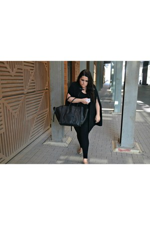 black Celine bag - silver Zara shoes - black Day Birger cape