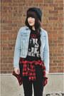 Black-chunky-hibou-boots-plaid-h-m-shirt-dark-gray-sleeveless-forever-21-top