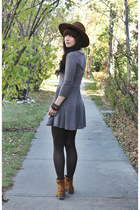 brown lace up boots Hibou boots - heather gray skater Urban Outfitters dress