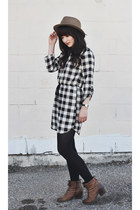 goorin bros hat - lace up boots Hibou boots - gingham Peppermint dress