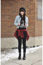 black chunky Hibou boots - black black jeans Just Usa jeans - plaid H&M shirt