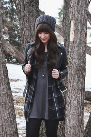 black faux leather H&M jacket - black ankle boots Hibou boots