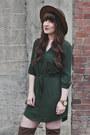 Camel-aldo-boots-dark-green-mini-dress-jella-c-dress