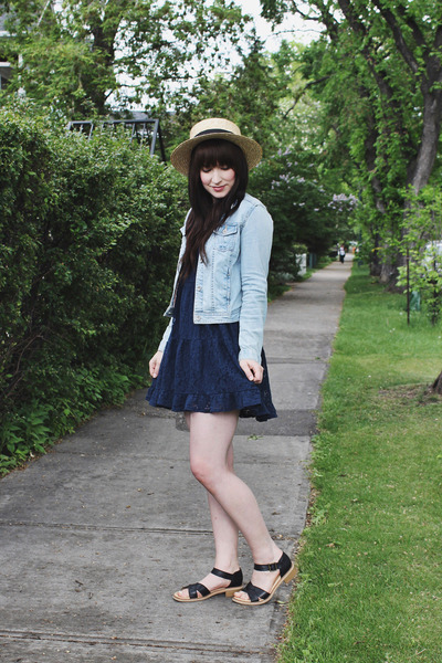 off white boater Forever 21 hat - navy lace dress others follow dress