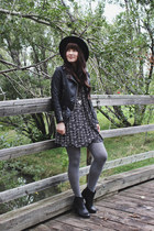 black leather jacket H&M jacket - black ankle boots Steve Madden boots
