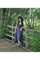 navy maxi dress En Creme dress - heather gray wide brim Goorin hat