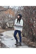 moccasins Minnetonka boots - off white oversized Romwecom sweater