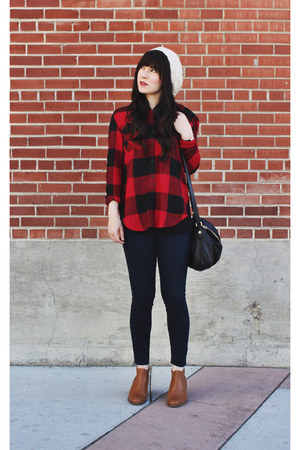 ruby red Thread and Supply shirt - brown ankle boots Aldo boots