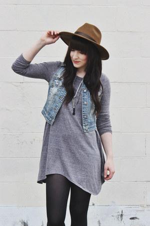 light blue jean vest Silver vest - brown lace up Hibou boots