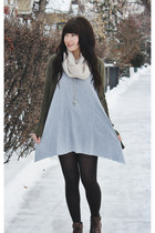 olive green BDG cardigan - brown lace up boots Hibou boots