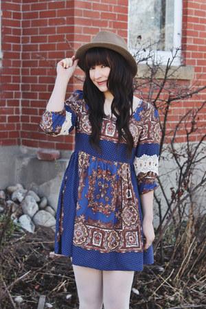 blue dress Avenle dress - light brown goorin bros hat